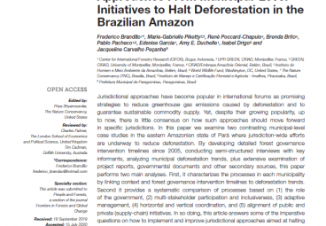 Lessons for Jurisdictional Approaches from Municipal-Level Initiatives to Halt Deforestation in the Brazilian Amazon