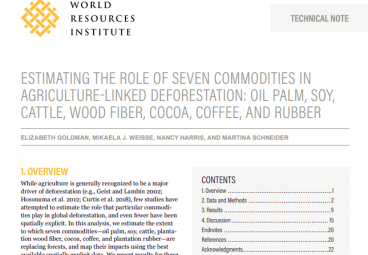 Estimating the Role of Seven Commodities in Agriculture-Linked Deforestation: Oil Palm, Soy, Cattle, Wood Fiber, Cocoa, Coffee, and Rubber